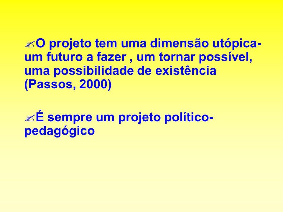 ?O projeto tem uma dimensão utópica- um futuro a fazer, um tornar possível, uma possibilidade de existência (Passos, 2000) ?É sempre um projeto político- pedagógico