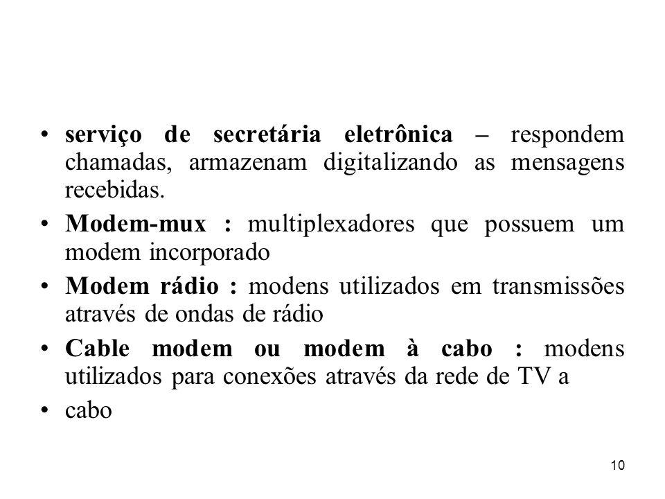 10 serviço de secretária eletrônica – respondem chamadas, armazenam digitalizando as mensagens recebidas. Modem-mux : multiplexadores que possuem um m