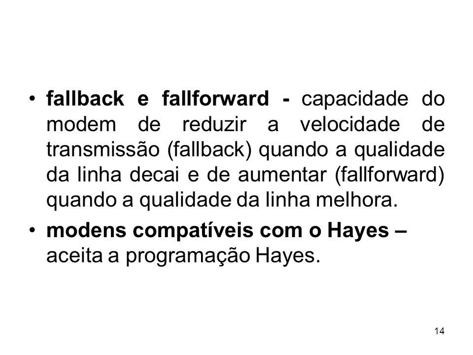 14 fallback e fallforward - capacidade do modem de reduzir a velocidade de transmissão (fallback) quando a qualidade da linha decai e de aumentar (fal
