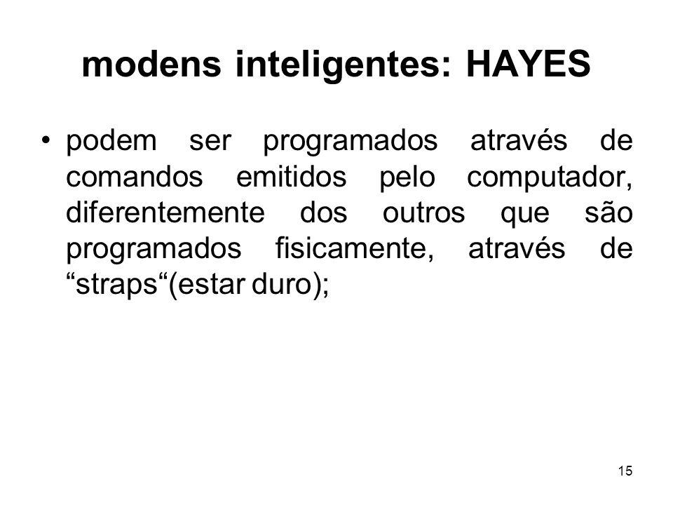 15 modens inteligentes: HAYES podem ser programados através de comandos emitidos pelo computador, diferentemente dos outros que são programados fisica