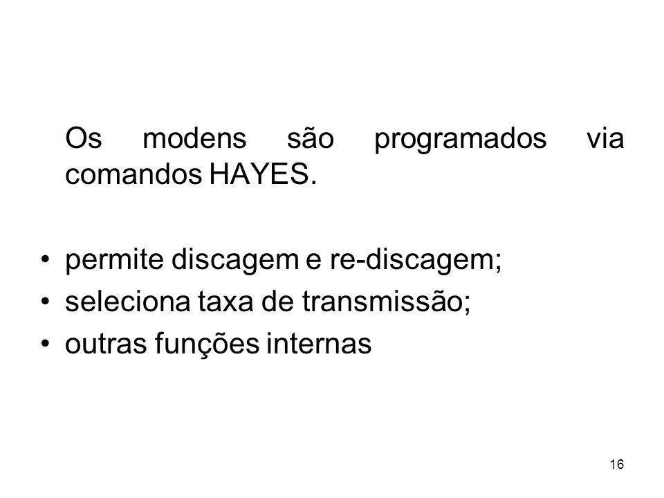 16 Os modens são programados via comandos HAYES. permite discagem e re-discagem; seleciona taxa de transmissão; outras funções internas