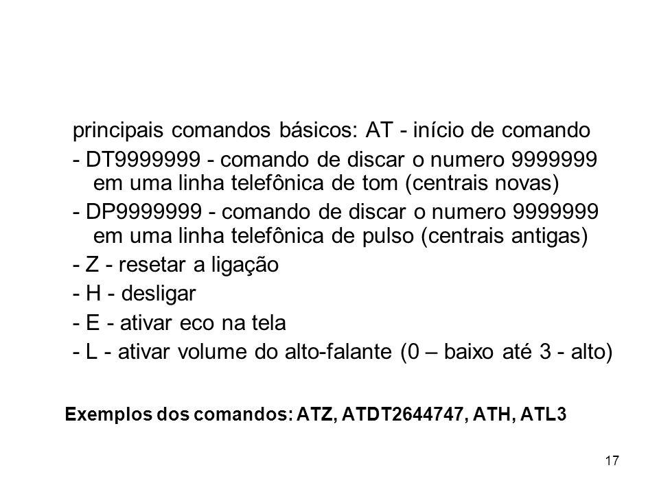 17 principais comandos básicos: AT - início de comando - DT9999999 - comando de discar o numero 9999999 em uma linha telefônica de tom (centrais novas