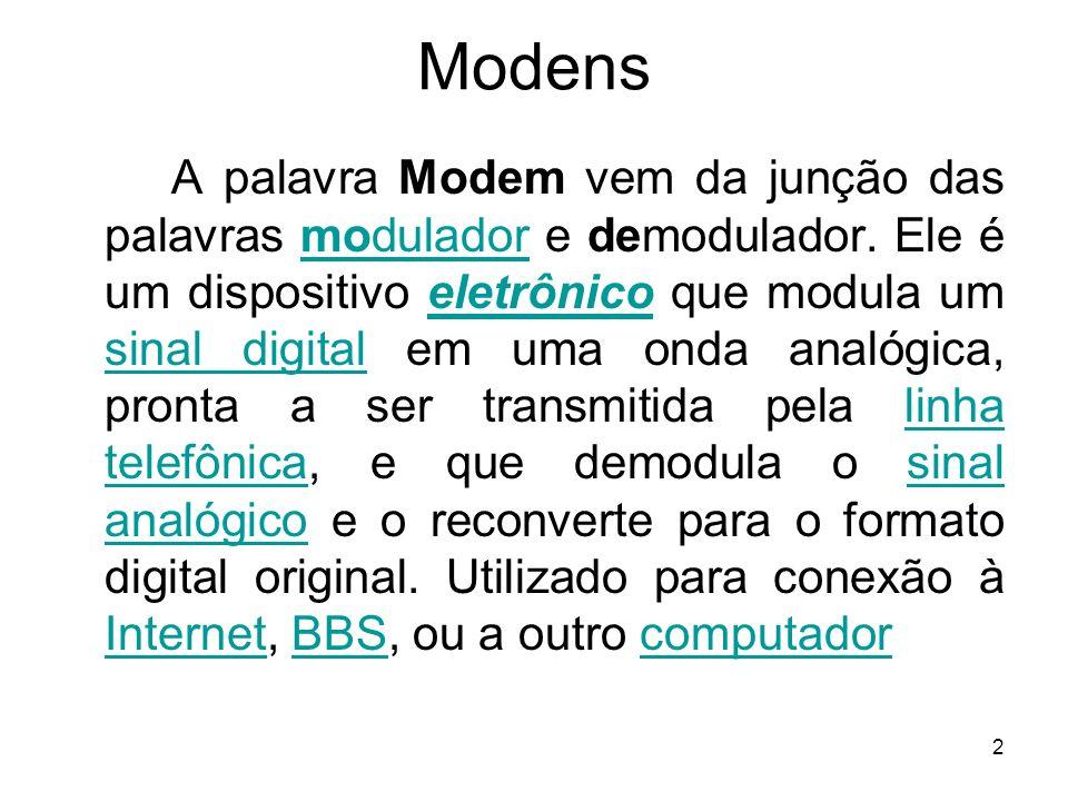 2 Modens A palavra Modem vem da junção das palavras modulador e demodulador. Ele é um dispositivo eletrônico que modula um sinal digital em uma onda a