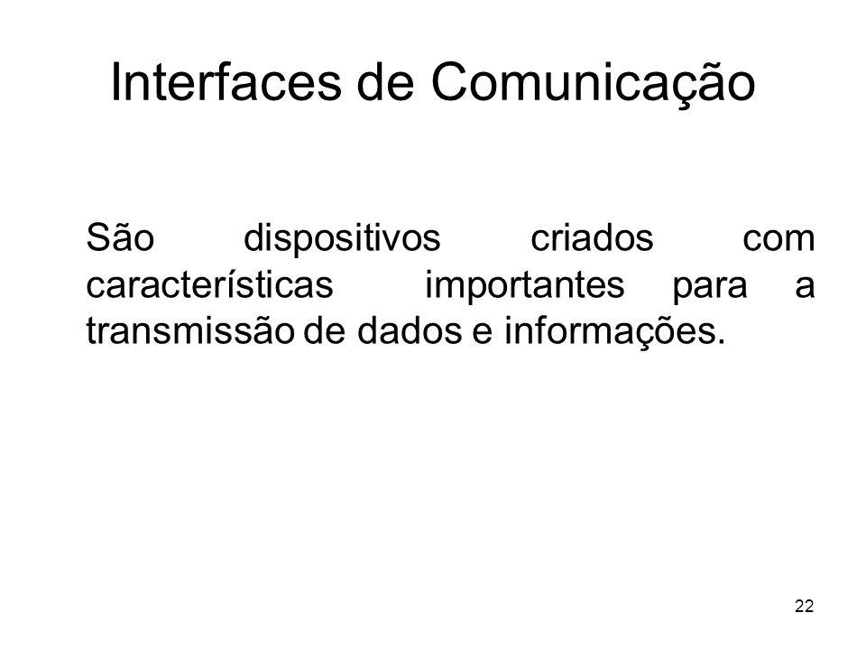 22 Interfaces de Comunicação São dispositivos criados com características importantes para a transmissão de dados e informações.