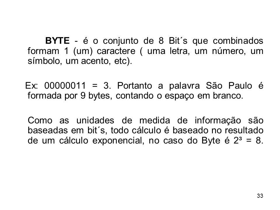 33 BYTE - é o conjunto de 8 Bit´s que combinados formam 1 (um) caractere ( uma letra, um número, um símbolo, um acento, etc). Ex: 00000011 = 3. Portan