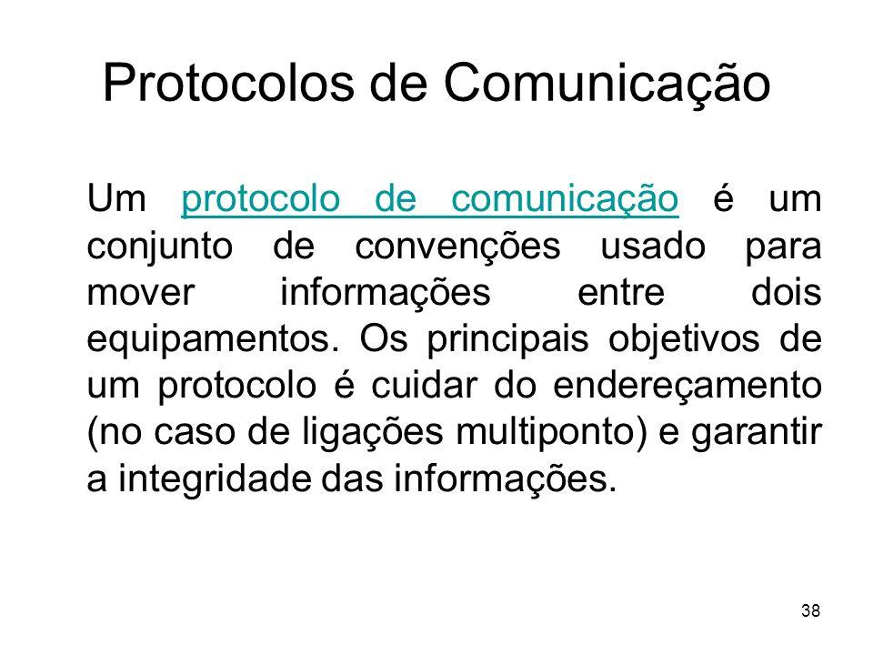 38 Protocolos de Comunicação Um protocolo de comunicação é um conjunto de convenções usado para mover informações entre dois equipamentos. Os principa