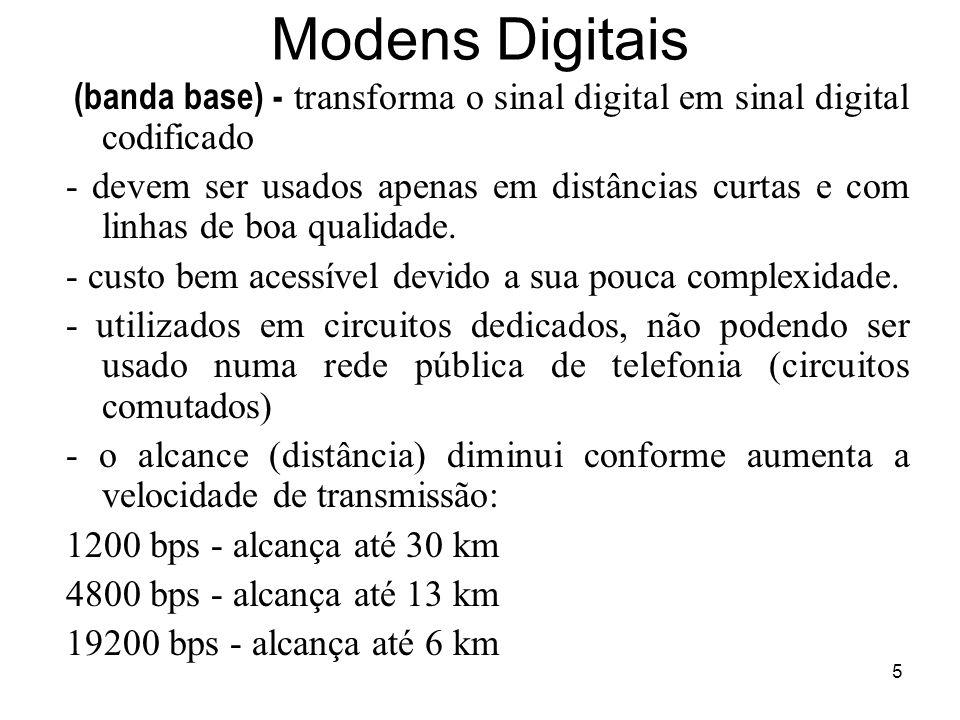 5 Modens Digitais (banda base) - transforma o sinal digital em sinal digital codificado - devem ser usados apenas em distâncias curtas e com linhas de