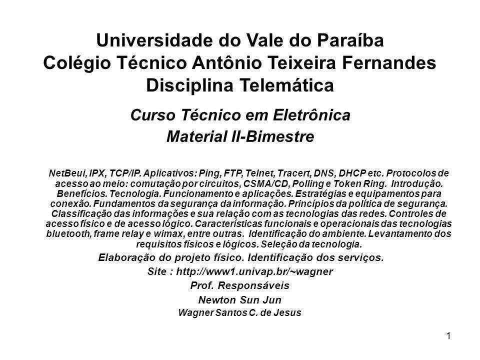 1 Universidade do Vale do Paraíba Colégio Técnico Antônio Teixeira Fernandes Disciplina Telemática Curso Técnico em Eletrônica Material II-Bimestre Ne