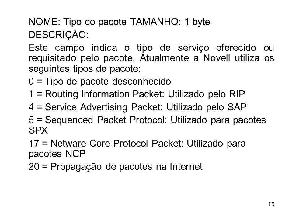 15 NOME: Tipo do pacote TAMANHO: 1 byte DESCRIÇÃO: Este campo indica o tipo de serviço oferecido ou requisitado pelo pacote. Atualmente a Novell utili