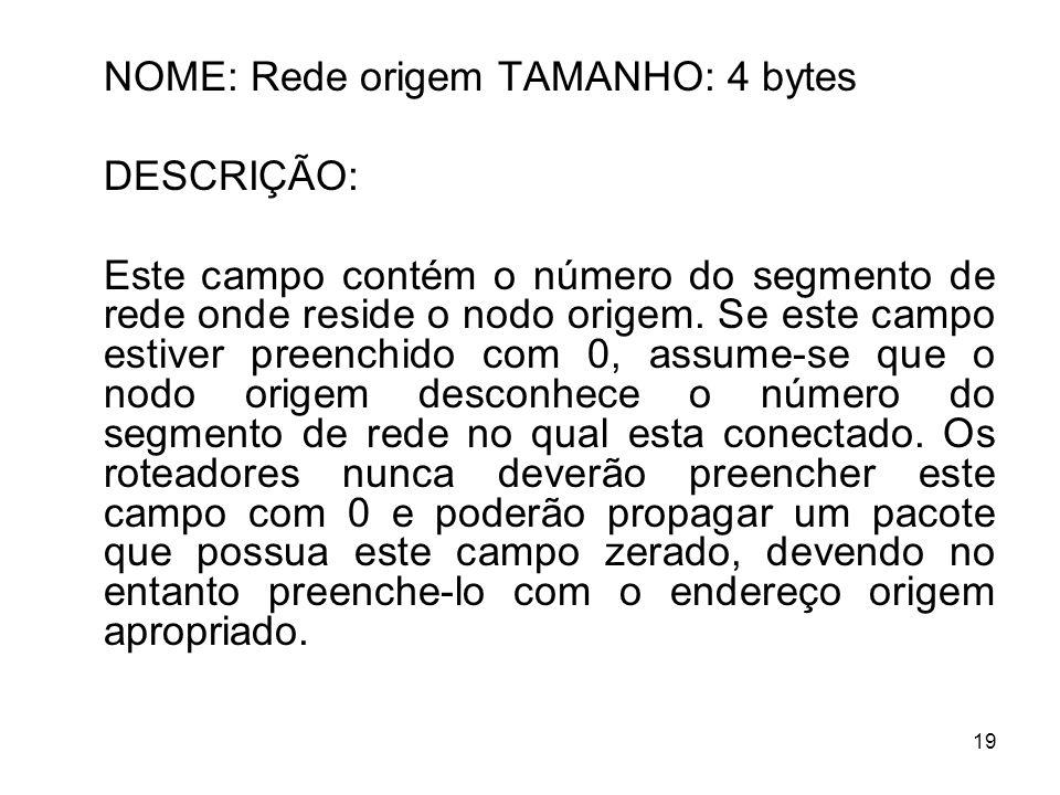 19 NOME: Rede origem TAMANHO: 4 bytes DESCRIÇÃO: Este campo contém o número do segmento de rede onde reside o nodo origem. Se este campo estiver preen