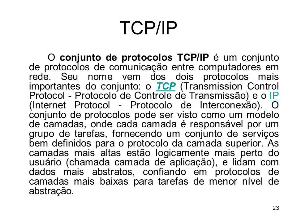 23 TCP/IP O conjunto de protocolos TCP/IP é um conjunto de protocolos de comunicação entre computadores em rede. Seu nome vem dos dois protocolos mais