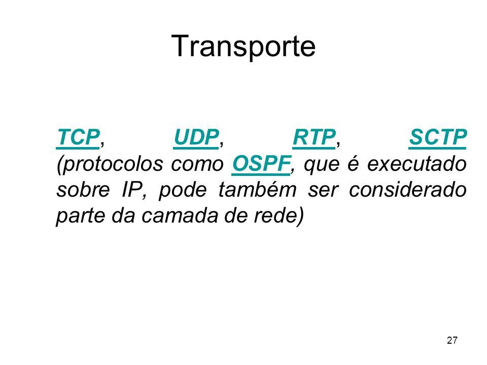 27 Transporte TCPTCP, UDP, RTP, SCTP (protocolos como OSPF, que é executado sobre IP, pode também ser considerado parte da camada de rede)UDPRTPSCTPOS