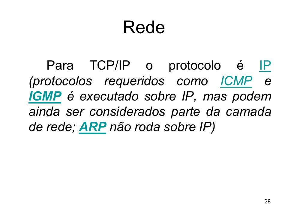 28 Rede Para TCP/IP o protocolo é IP (protocolos requeridos como ICMP e IGMP é executado sobre IP, mas podem ainda ser considerados parte da camada de