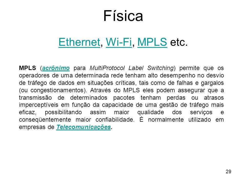 29 Física EthernetEthernet, Wi-Fi, MPLS etc.Wi-FiMPLS MPLS (acrônimo para MultiProtocol Label Switching) permite que os operadores de uma determinada