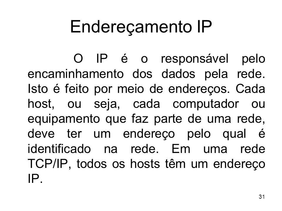 31 Endereçamento IP O IP é o responsável pelo encaminhamento dos dados pela rede. Isto é feito por meio de endereços. Cada host, ou seja, cada computa