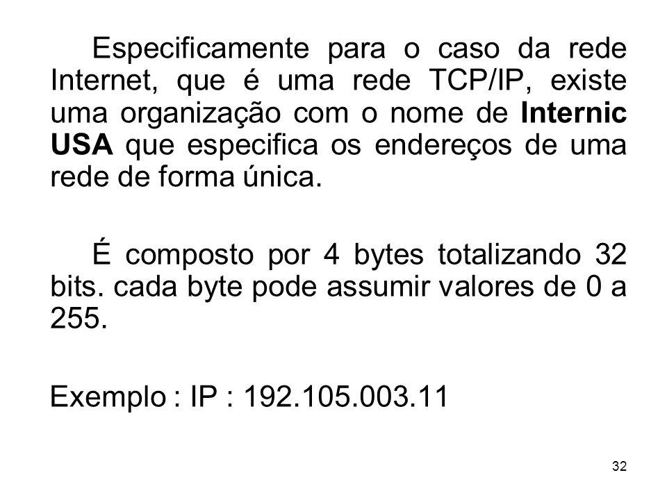 32 Especificamente para o caso da rede Internet, que é uma rede TCP/IP, existe uma organização com o nome de Internic USA que especifica os endereços