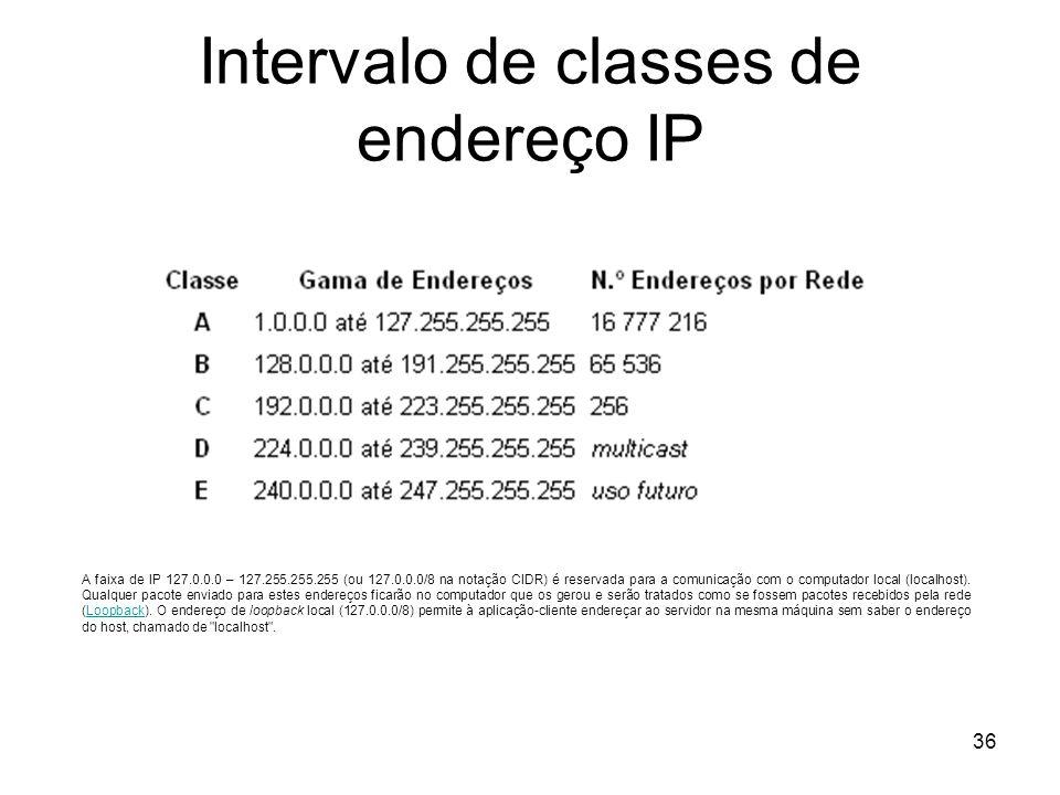 36 Intervalo de classes de endereço IP A faixa de IP 127.0.0.0 – 127.255.255.255 (ou 127.0.0.0/8 na notação CIDR) é reservada para a comunicação com o