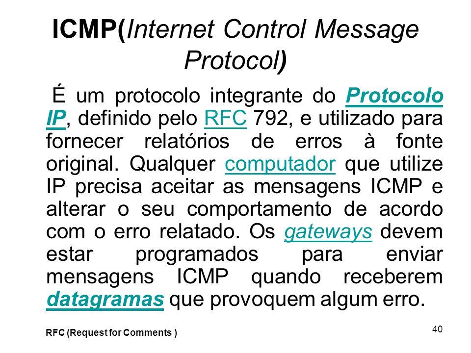40 ICMP(Internet Control Message Protocol) É um protocolo integrante do Protocolo IP, definido pelo RFC 792, e utilizado para fornecer relatórios de e