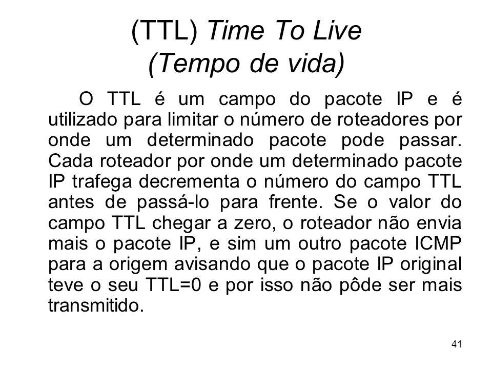 41 (TTL) Time To Live (Tempo de vida) O TTL é um campo do pacote IP e é utilizado para limitar o número de roteadores por onde um determinado pacote p