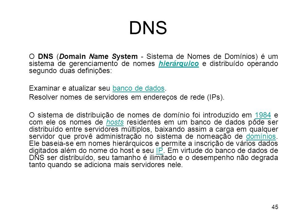 45 DNS O DNS (Domain Name System - Sistema de Nomes de Domínios) é um sistema de gerenciamento de nomes hierárquico e distribuído operando segundo dua