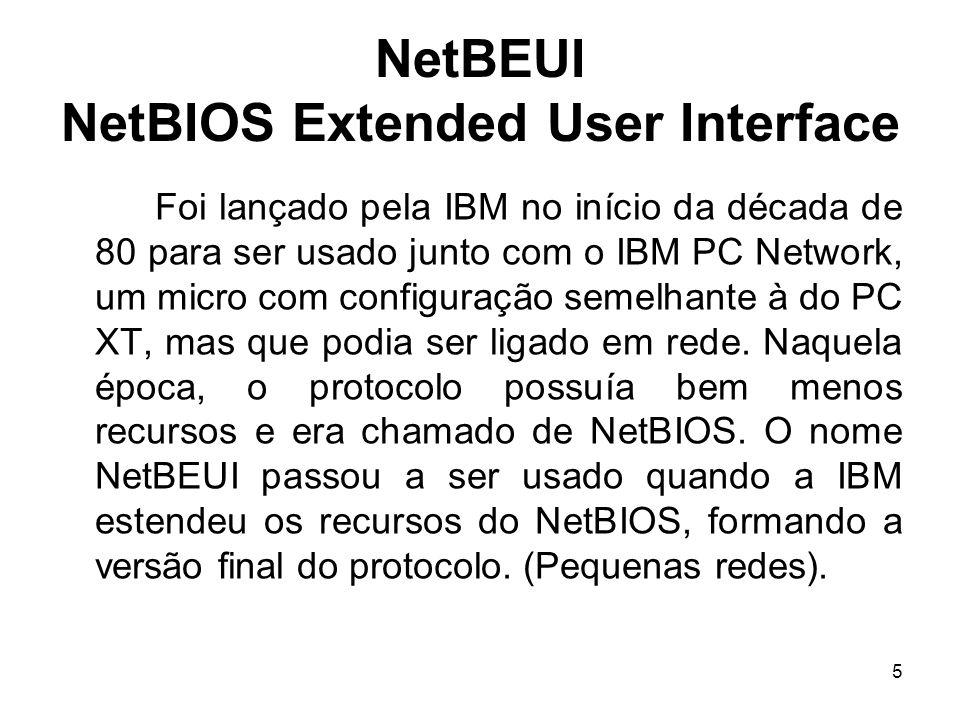 5 NetBEUI NetBIOS Extended User Interface Foi lançado pela IBM no início da década de 80 para ser usado junto com o IBM PC Network, um micro com confi