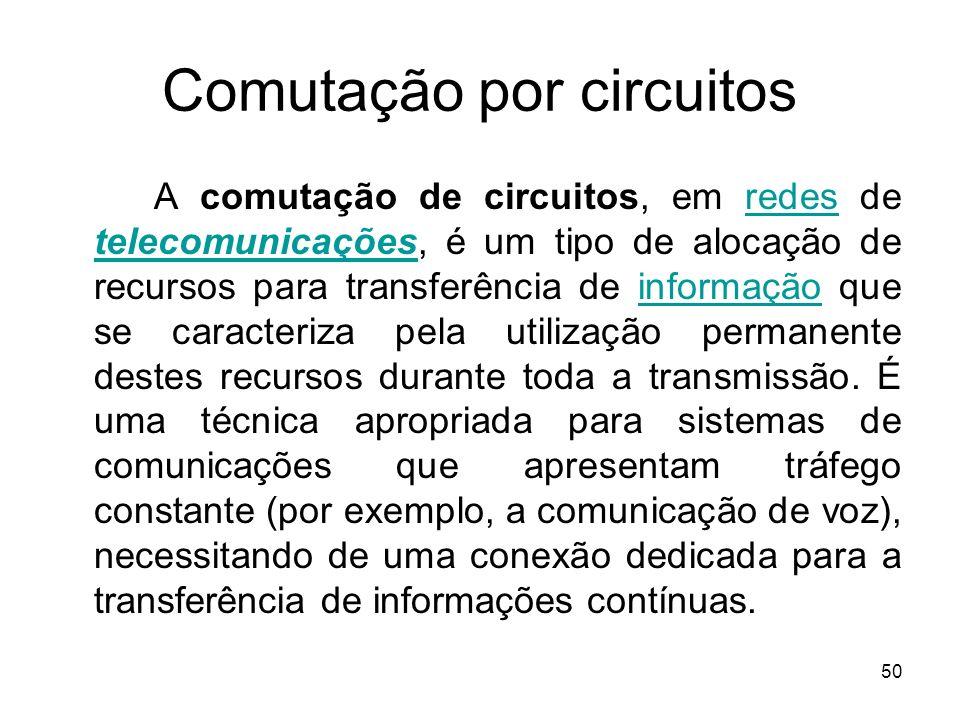 50 Comutação por circuitos A comutação de circuitos, em redes de telecomunicações, é um tipo de alocação de recursos para transferência de informação
