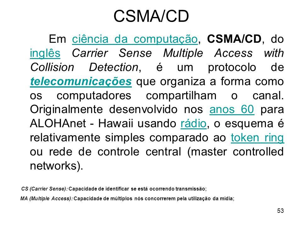 53 CSMA/CD Em ciência da computação, CSMA/CD, do inglês Carrier Sense Multiple Access with Collision Detection, é um protocolo de telecomunicações que