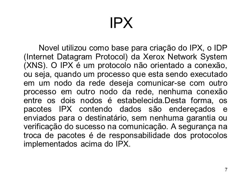7 IPX Novel utilizou como base para criação do IPX, o IDP (Internet Datagram Protocol) da Xerox Network System (XNS). O IPX é um protocolo não orienta