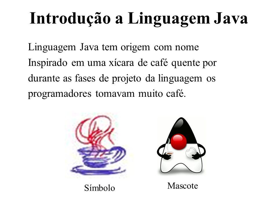 Introdução a Linguagem Java Linguagem Java tem origem com nome Inspirado em uma xícara de café quente por durante as fases de projeto da linguagem os