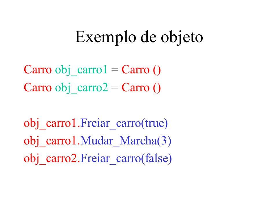 Exemplo de objeto Carro obj_carro1 = Carro () Carro obj_carro2 = Carro () obj_carro1.Freiar_carro(true) obj_carro1.Mudar_Marcha(3) obj_carro2.Freiar_c