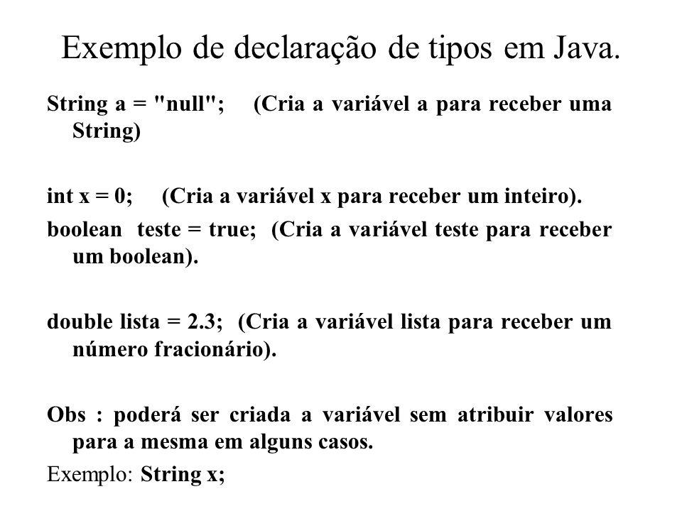 Exemplo de declaração de tipos em Java. String a =