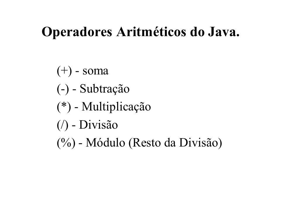 Operadores Aritméticos do Java. (+) - soma (-) - Subtração (*) - Multiplicação (/) - Divisão (%) - Módulo (Resto da Divisão)