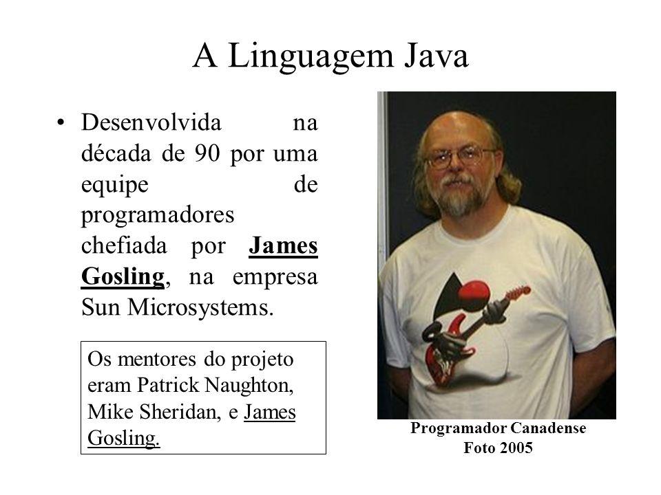 A Linguagem Java Desenvolvida na década de 90 por uma equipe de programadores chefiada por James Gosling, na empresa Sun Microsystems. Programador Can