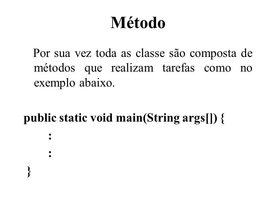 Método Por sua vez toda as classe são composta de métodos que realizam tarefas como no exemplo abaixo. public static void main(String args[]) { : }