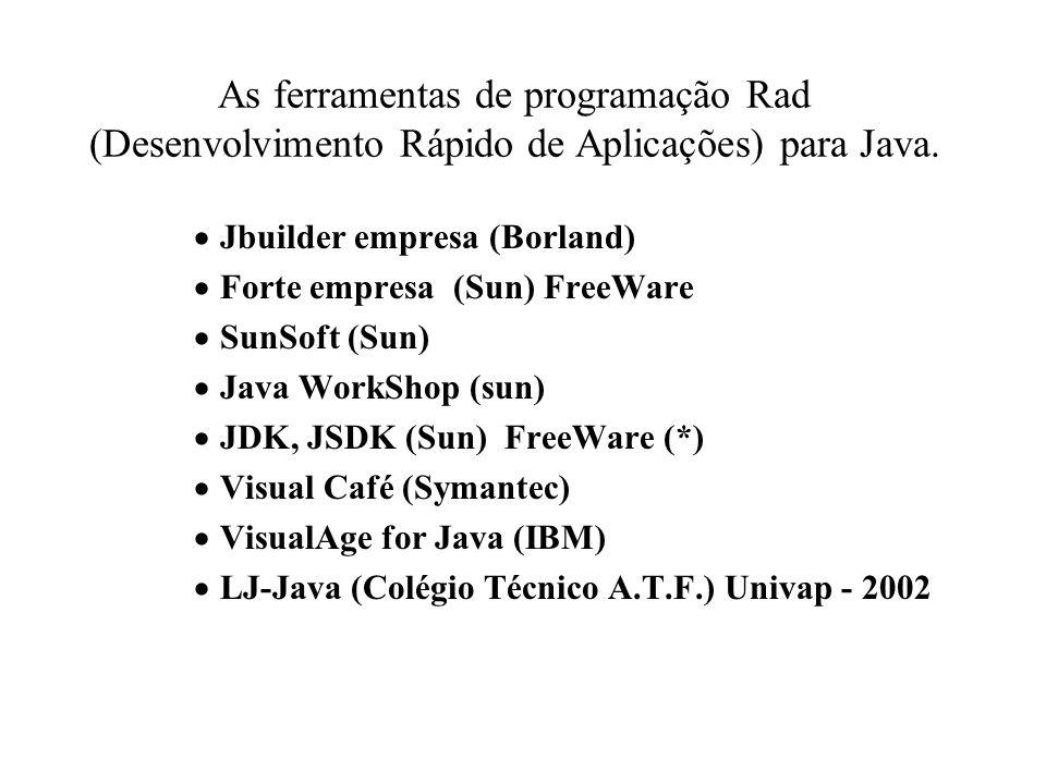 As ferramentas de programação Rad (Desenvolvimento Rápido de Aplicações) para Java. Jbuilder empresa (Borland) Forte empresa (Sun) FreeWare SunSoft (S