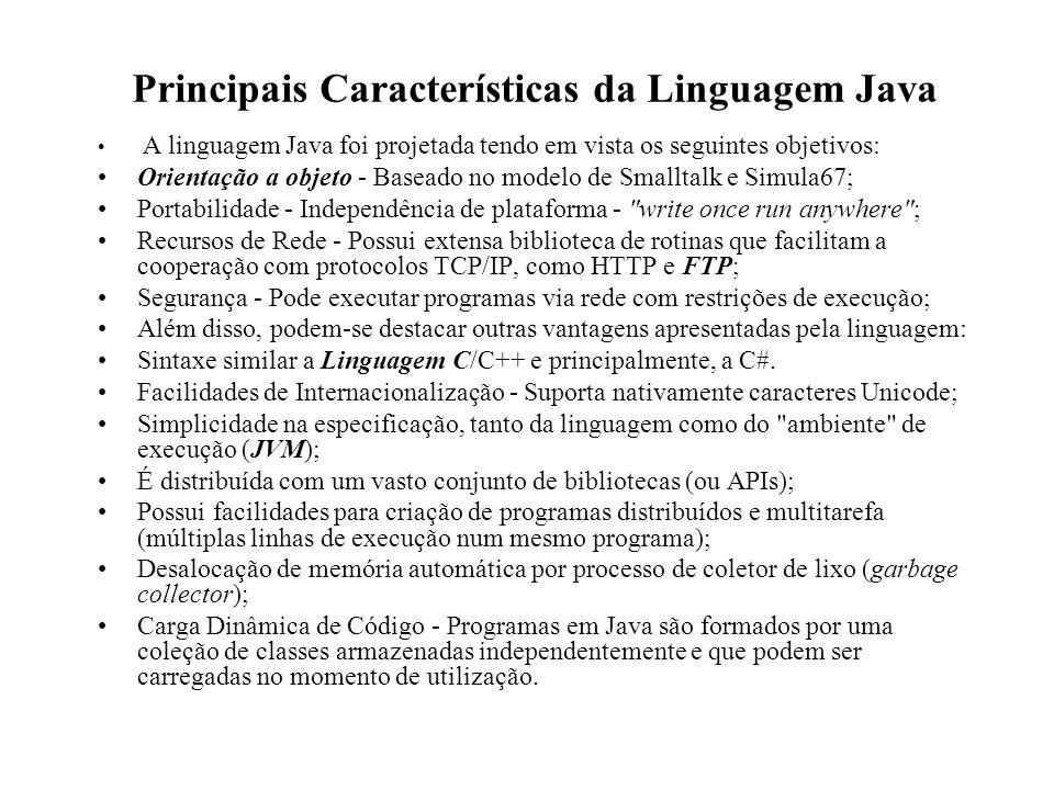 Principais Características da Linguagem Java A linguagem Java foi projetada tendo em vista os seguintes objetivos: Orientação a objeto - Baseado no mo