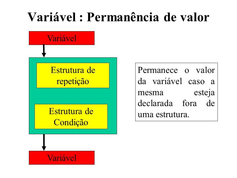 Variável : Permanência de valor Variável Estrutura de repetição Estrutura de Condição Variável Permanece o valor da variável caso a mesma esteja decla