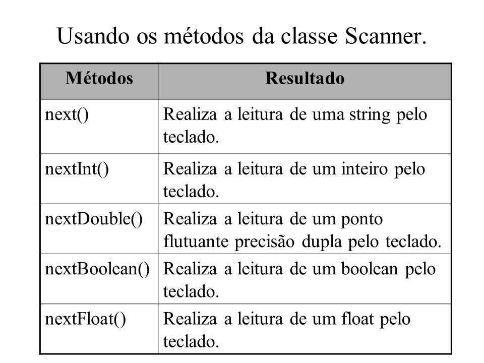 Usando os métodos da classe Scanner. MétodosResultado next()Realiza a leitura de uma string pelo teclado. nextInt()Realiza a leitura de um inteiro pel