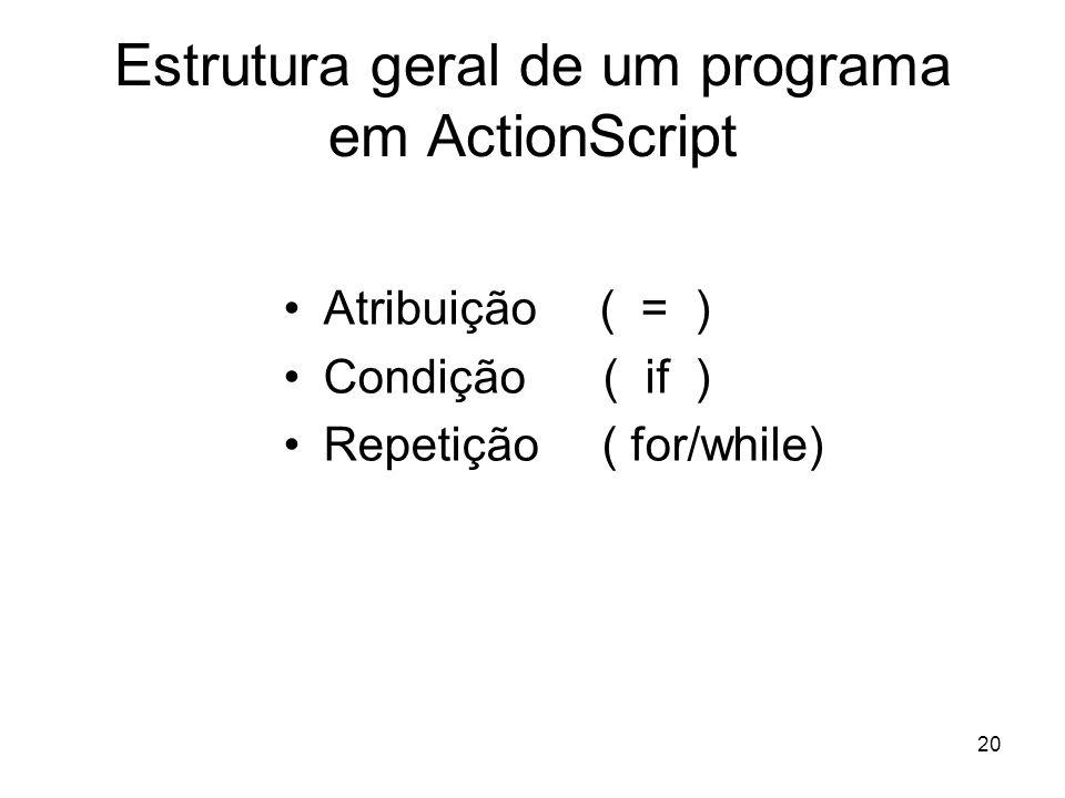 20 Estrutura geral de um programa em ActionScript Atribuição ( = ) Condição( if ) Repetição ( for/while)