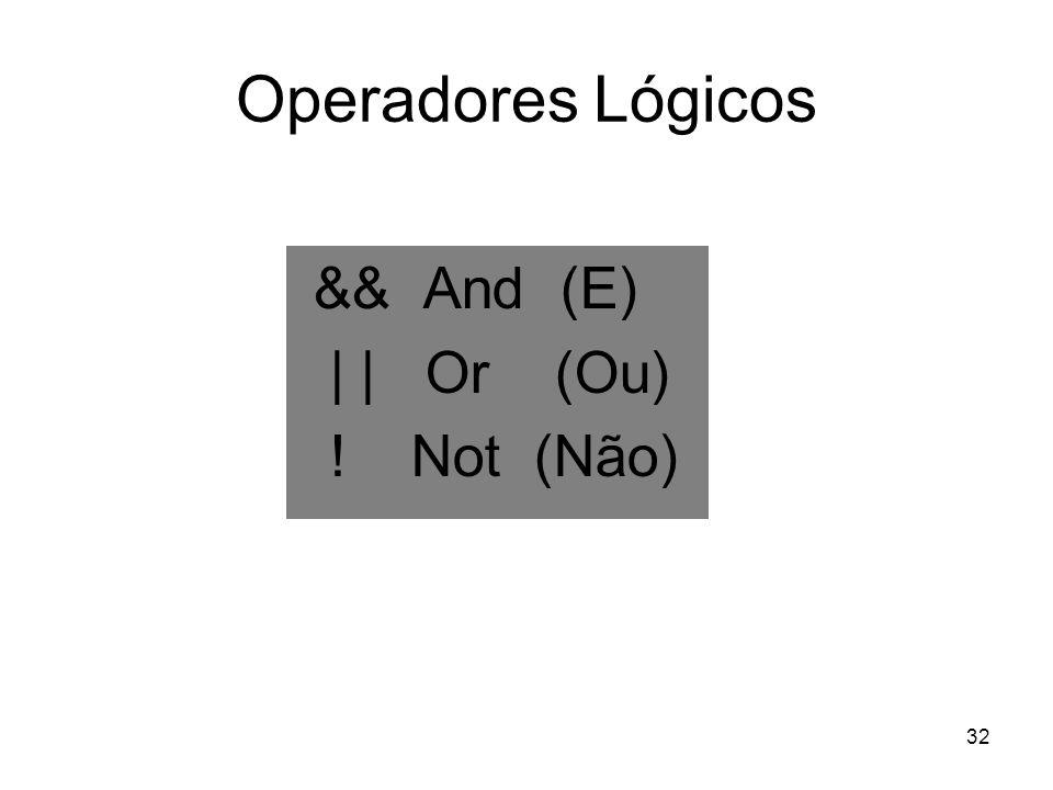 32 Operadores Lógicos && And (E) | | Or (Ou) ! Not (Não)