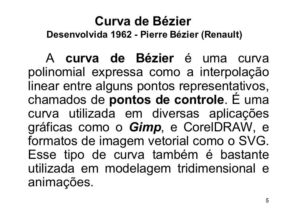 5 Curva de Bézier Desenvolvida 1962 - Pierre Bézier (Renault) A curva de Bézier é uma curva polinomial expressa como a interpolação linear entre algun