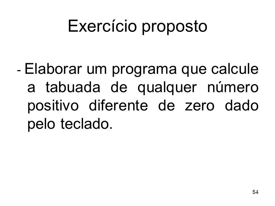 54 Exercício proposto - Elaborar um programa que calcule a tabuada de qualquer número positivo diferente de zero dado pelo teclado.