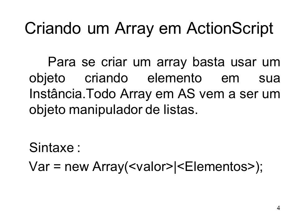 4 Criando um Array em ActionScript Para se criar um array basta usar um objeto criando elemento em sua Instância.Todo Array em AS vem a ser um objeto manipulador de listas.