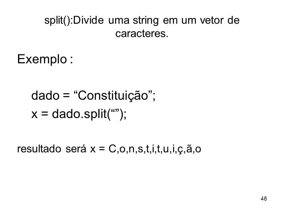 46 split():Divide uma string em um vetor de caracteres. Exemplo : dado = Constituição; x = dado.split(); resultado será x = C,o,n,s,t,i,t,u,i,ç,ã,o