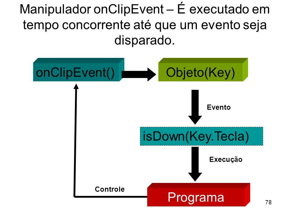 78 Manipulador onClipEvent – É executado em tempo concorrente até que um evento seja disparado. Objeto(Key)onClipEvent() isDown(Key.Tecla) Evento Prog
