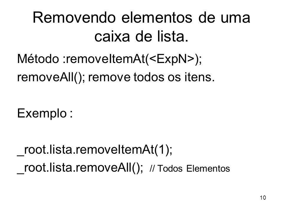 10 Removendo elementos de uma caixa de lista.