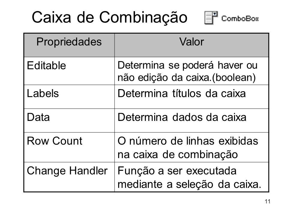 11 Caixa de Combinação PropriedadesValor Editable Determina se poderá haver ou não edição da caixa.(boolean) LabelsDetermina títulos da caixa DataDetermina dados da caixa Row CountO número de linhas exibidas na caixa de combinação Change HandlerFunção a ser executada mediante a seleção da caixa.
