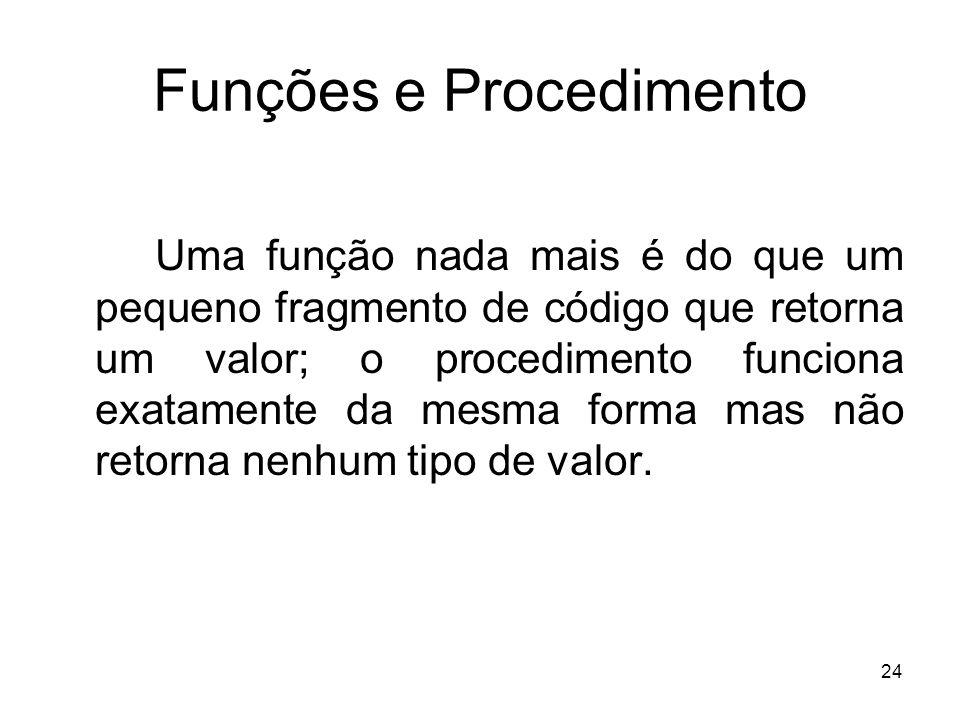 24 Funções e Procedimento Uma função nada mais é do que um pequeno fragmento de código que retorna um valor; o procedimento funciona exatamente da mesma forma mas não retorna nenhum tipo de valor.