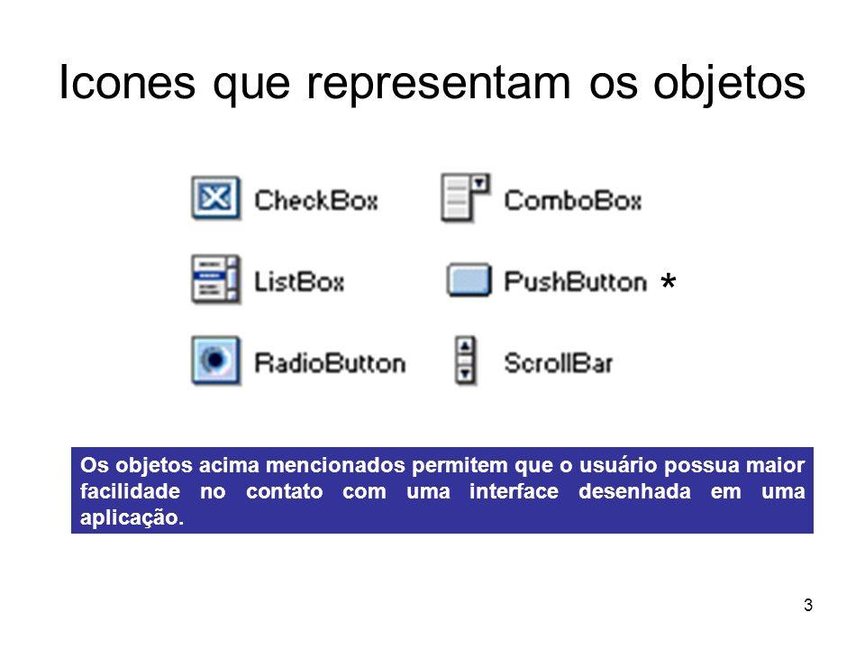 3 Icones que representam os objetos * Os objetos acima mencionados permitem que o usuário possua maior facilidade no contato com uma interface desenhada em uma aplicação.