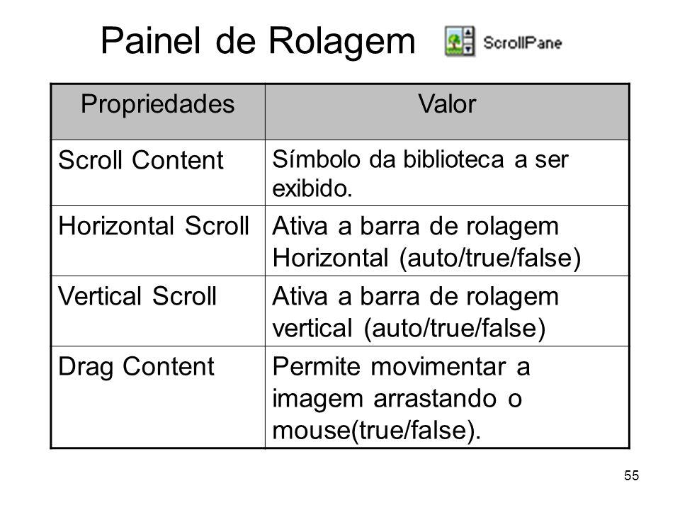 55 Painel de Rolagem PropriedadesValor Scroll Content Símbolo da biblioteca a ser exibido.